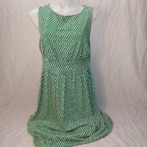 Joe fresh Green white sleevless midi dress large